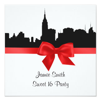 NYC Skyline Silhouette BW Red Sweet 16 SQ Card