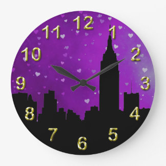 NYC Skyline Silhouette, ESB #1 Purple Hearts Large Clock
