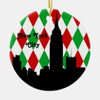 NYC Skyline Silhouette ESB Red Grn Harlequin Xmas Ceramic Ornament