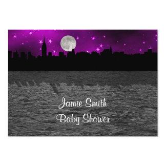 NYC Skyline Silhouette Moon Purple Baby Shower 5x7 Paper Invitation Card