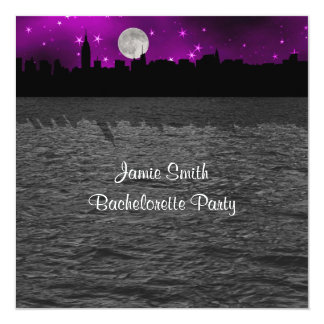 "NYC Skyline Silhouette Moon Purple Bachelorette SQ 5.25"" Square Invitation Card"