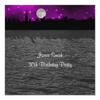 "NYC Skyline Silhouette Moon Purple Birthday SQ 5.25"" Square Invitation Card"