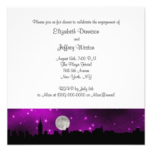NYC Skyline Silhouette Moon Purple Engagement SQ Personalized Announcements
