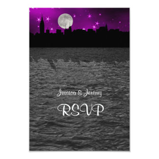 "NYC Skyline Silhouette Moon Purple RSVP 1 3.5"" X 5"" Invitation Card"