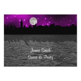 "NYC Skyline Silhouette Moon Purple Sweet 16 5"" X 7"" Invitation Card"