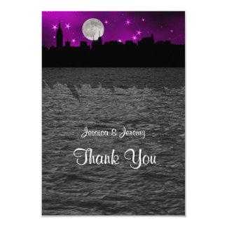 "NYC Skyline Silhouette Moon Purple Thank You 3.5"" X 5"" Invitation Card"