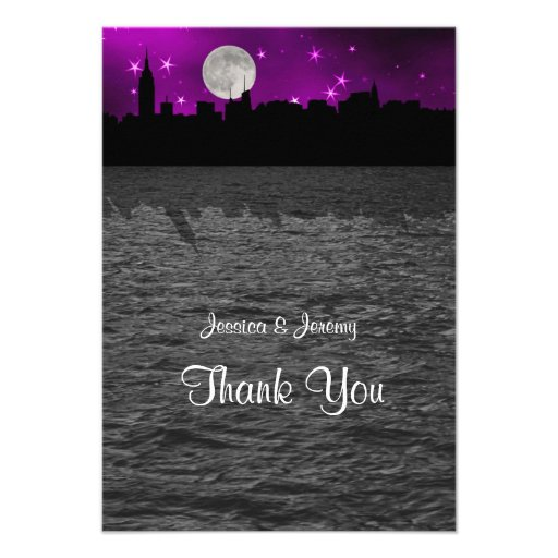 NYC Skyline Silhouette Moon Purple Thank You Invite