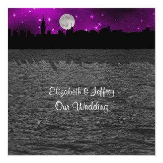 "NYC Skyline Silhouette Moon Purple Wedding SQ 5.25"" Square Invitation Card"