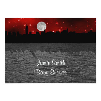 """NYC Skyline Silhouette Moon Red Baby Shower 5"""" X 7"""" Invitation Card"""
