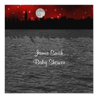 """NYC Skyline Silhouette Moon Red Baby Shower SQ 5.25"""" Square Invitation Card"""