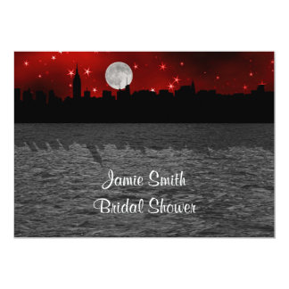 """NYC Skyline Silhouette Moon Red Bridal Shower 5"""" X 7"""" Invitation Card"""