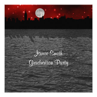 NYC Skyline Silhouette Moon Red Graduation SQ Custom Announcements