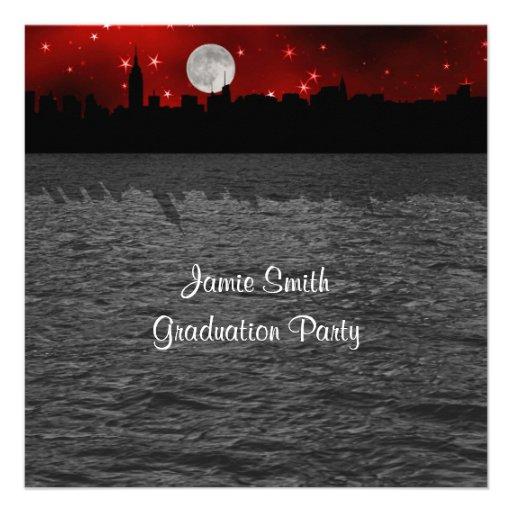 NYC Skyline Silhouette Moon Red Graduation SQ Custom Announcements