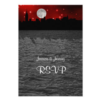 NYC Skyline Silhouette Moon Red RSVP 1 Custom Invite