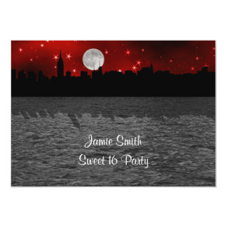 NYC Skyline Silhouette Moon Red Sweet 16 5x7 Paper Invitation Card