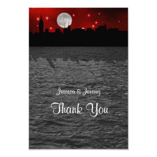 """NYC Skyline Silhouette Moon Red Thank You 3.5"""" X 5"""" Invitation Card"""