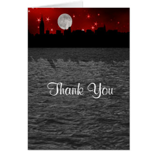 NYC Skyline Silhouette Moon Red Thank You Card