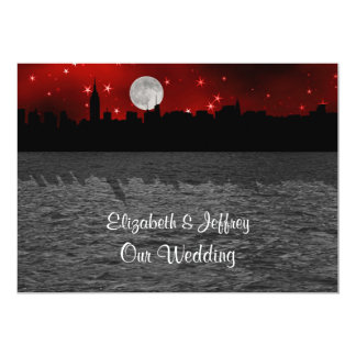 NYC Skyline Silhouette Moon Red Wedding Personalized Announcement