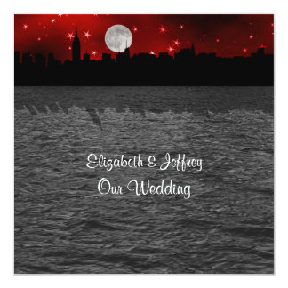 NYC Skyline Silhouette Moon Red Wedding SQ Personalized Invitation