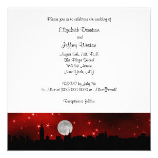 NYC Skyline Silhouette Moon Red Wedding SQ Custom Announcement