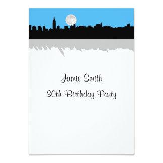 NYC Skyline Silhouette Moon Sky Blue Birthday Invites