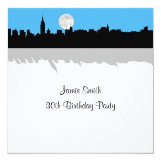 "NYC Skyline Silhouette Moon Sky Blue Birthday SQ 5.25"" Square Invitation Card"