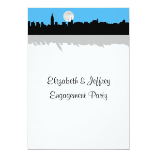 "NYC Skyline Silhouette Moon Sky Blue Engagement 5"" X 7"" Invitation Card"