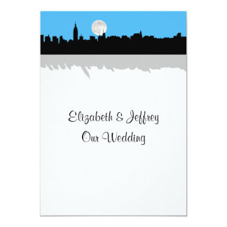 NYC Skyline Silhouette Moon Sky Blue Wedding 5x7 Paper Invitation Card