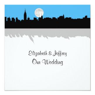 "NYC Skyline Silhouette Moon Sky Blue Wedding SQ 5.25"" Square Invitation Card"