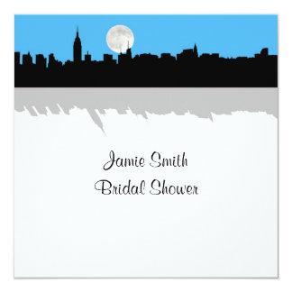 "NYC Skyline Silhouette Moon SkyBl Bridal Shower SQ 5.25"" Square Invitation Card"