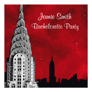 NYC Skyline Silhouette Red Starry Bachelorette Personalized Invitations