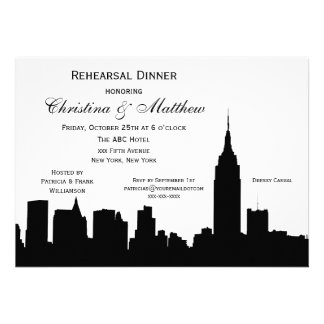 NYC Skyline Silhouette Rehearsal Dinner Personalized Invitation