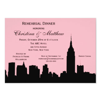 NYC Skyline Silhouette Rehearsal Dinner 5x7 Paper Invitation Card