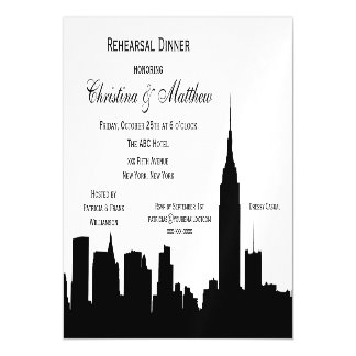 NYC Skyline Silhouette Rehearsal Dinner Magnetic Invitations