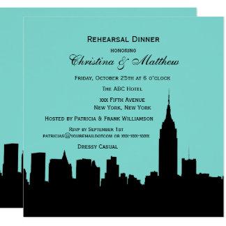 NYC Skyline Silhouette Rehearsal Dinner SQ Card