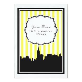 "NYC Skyline Silhouette Stripe #1 DIY Bachelorette 5"" X 7"" Invitation Card"