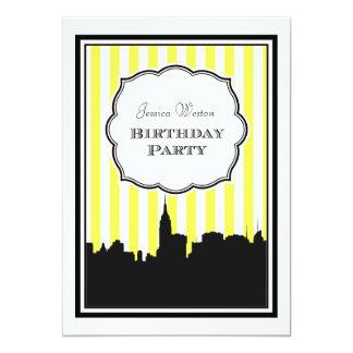 NYC Skyline Silhouette Stripe #1 DIY Birthday Personalized Invitations