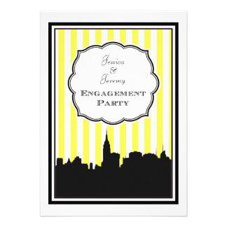 NYC Skyline Silhouette Stripe 1 DIY Engagement Custom Announcement