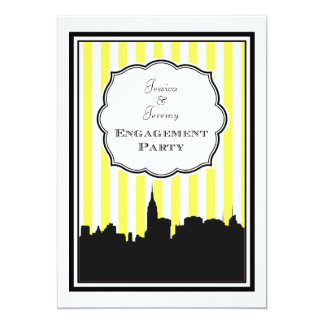 "NYC Skyline Silhouette Stripe #1 DIY Engagement 5"" X 7"" Invitation Card"