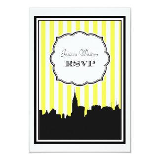NYC Skyline Silhouette Stripe #1 DIY RSVP 3.5x5 Paper Invitation Card