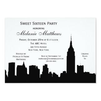 "NYC Skyline Silhouette Sweet Sixteen 5"" X 7"" Invitation Card"