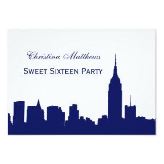 "NYC Skyline Silhouette Sweet Sixteen Navy Blue 5"" X 7"" Invitation Card"