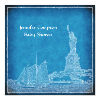 """NYC Skyline St of Liberty Blue Wht Baby Shower 5.25"""" Square Invitation Card"""