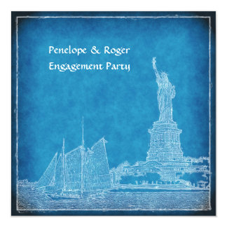 """NYC Skyline St of Liberty Blue Wht Engagement Pty 5.25"""" Square Invitation Card"""