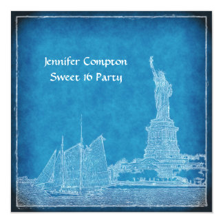 "NYC Skyline St of Liberty Sweet 16 Party Blue Wht 5.25"" Square Invitation Card"