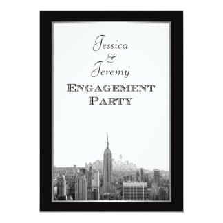 "NYC Skyline Top of the Rock ESB Etched Engagement 5"" X 7"" Invitation Card"