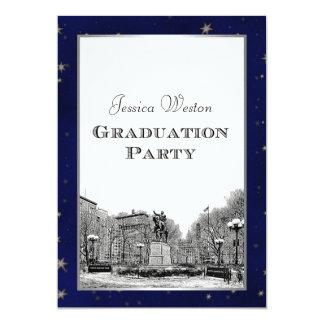 NYC Skyline Union Sq Etched Blu Star BG Graduation Invitation