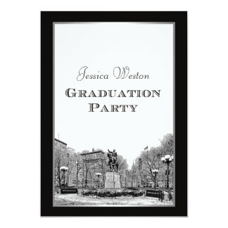 NYC Skyline Union Square Park Etched Graduation Card