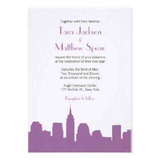 NYC Skyline Wedding Invitation - Purple