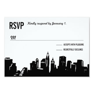 "NYC Skyline | Wedding RSVP Cards 3.5"" X 5"" Invitation Card"